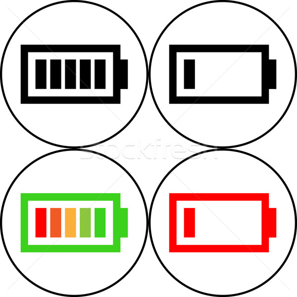Set of battery icon - vector, flat design. Eps 10 Stock photo © nemalo