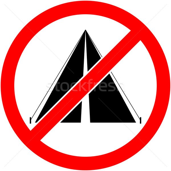 No bivouac, camping prohibited symbol. Vector. Stock photo © nemalo