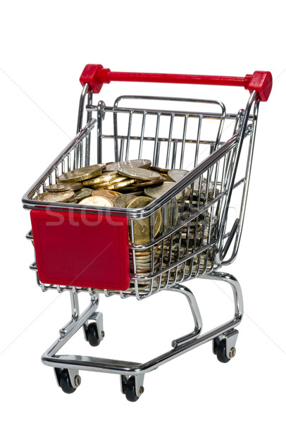Stock fotó: Bevásárlókocsi · pénz · izolált · fehér · háttér · bolt