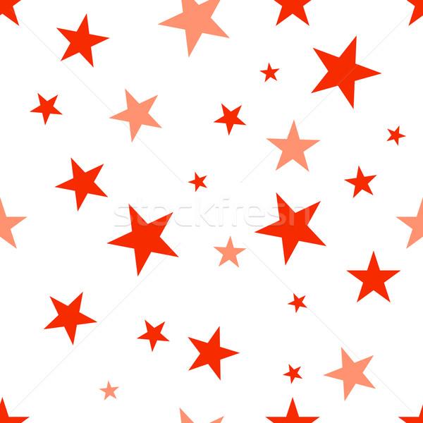 Rood sterren naadloos vector patroon Stockfoto © nemalo