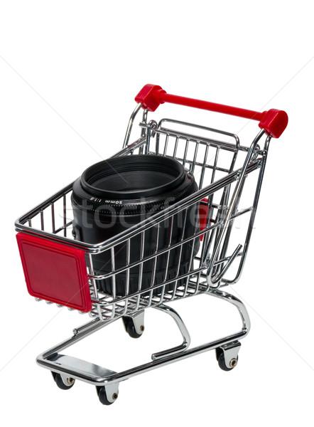 Bevásárlókocsi kameralencse izolált fehér üzlet bolt Stock fotó © nemalo