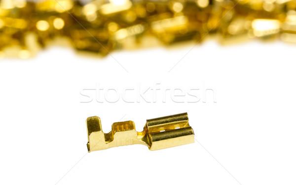 Сток-фото: электрические · компонент · бронзовый · кабеля · изолированный · белый