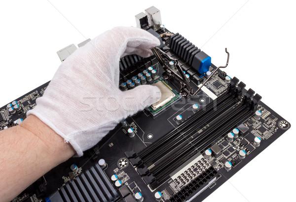 Elettronica raccolta installazione processore moderno cpu Foto d'archivio © nemalo