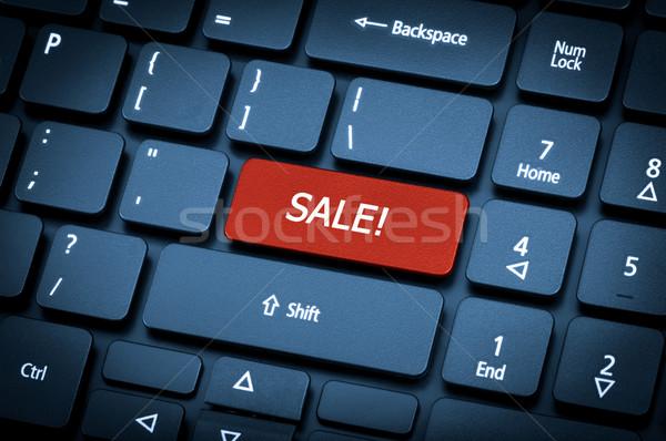 Laptop billentyűzet fókusz vásár kulcs közelkép üzlet Stock fotó © nemalo