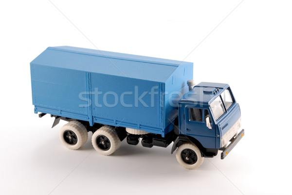 Collectie schaal model Blauw vrachtwagen metaal Stockfoto © nemalo