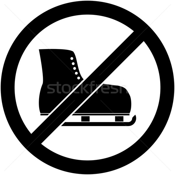 No ice skate, ice-skate prohibited symbol. Vector Stock photo © nemalo