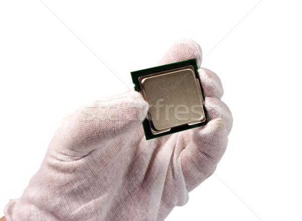 Electrónico colección CPU mano aislado blanco Foto stock © nemalo