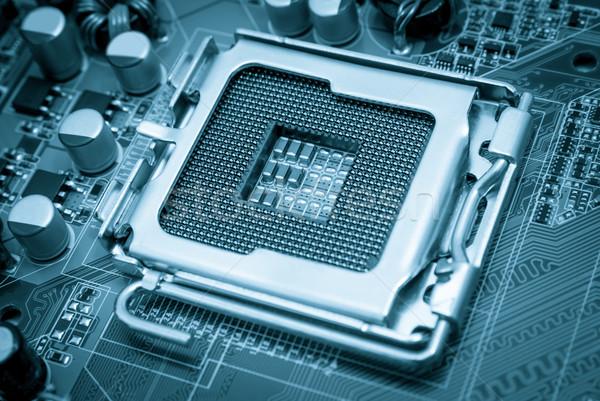 Elektronische collectie lege cpu stopcontact Blauw Stockfoto © nemalo