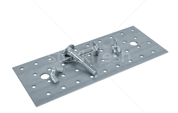 Perforated metal sheet and screw (bolt) nuts Stock photo © nemalo