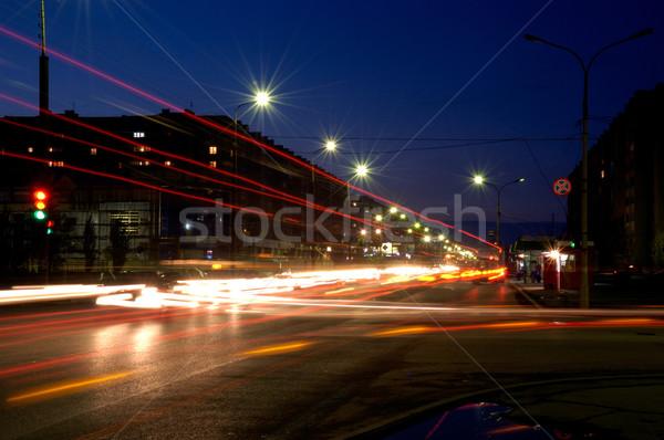 Russia. City Volzhsk. Street of the World. Night. Stock photo © nemalo