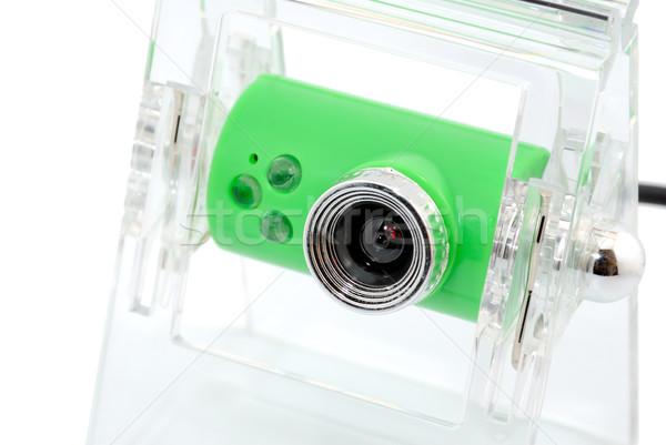 Foto stock: Webcam · moderno · isolado · branco · segurança · teia
