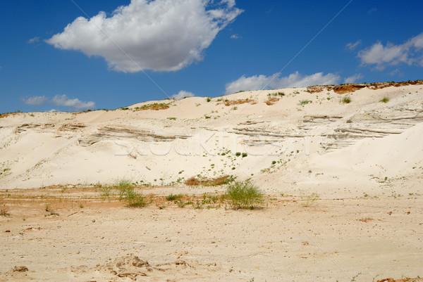 Kumlu dağ mavi gökyüzü toprak taş Stok fotoğraf © nemalo