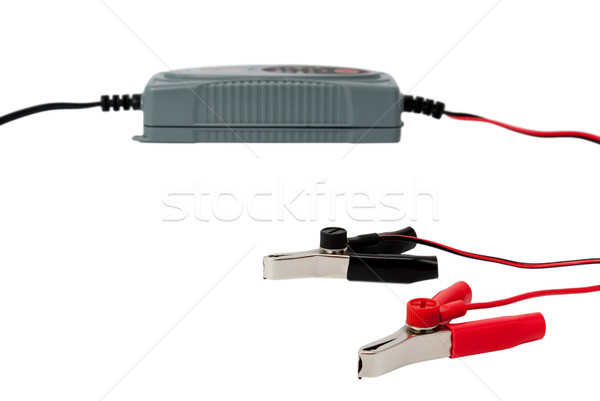 Modern electronic charger for car battery with clamps Stock photo © nemalo