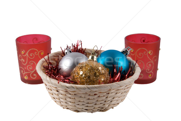 Basket with fur-tree spheres and two candlesticks Stock photo © nemalo