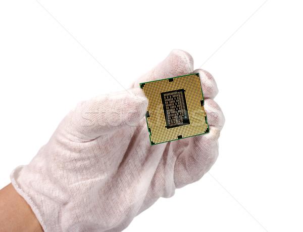 Elektronikus gyűjtemény kéz számítógép processzor izolált Stock fotó © nemalo
