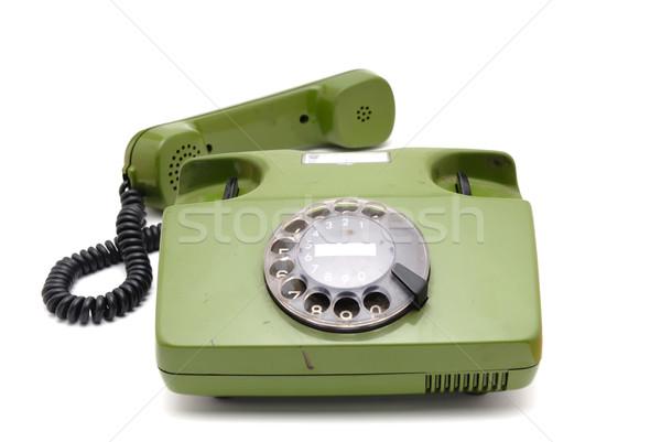 Starych analog dysku telefonu biały telefon Zdjęcia stock © nemalo
