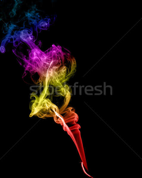 Streszczenie wielobarwny dymu ciemne sztuki czarny Zdjęcia stock © nemalo