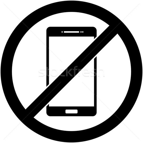 Nem telefon telefon tilos szimbólum vektor Stock fotó © nemalo