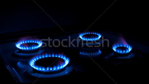 Benzin földgáz égő kék lángok fekete Stock fotó © nemalo