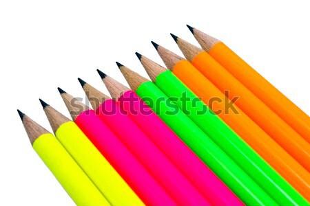 Renk kalemler floresan beyaz ofis Stok fotoğraf © nemalo