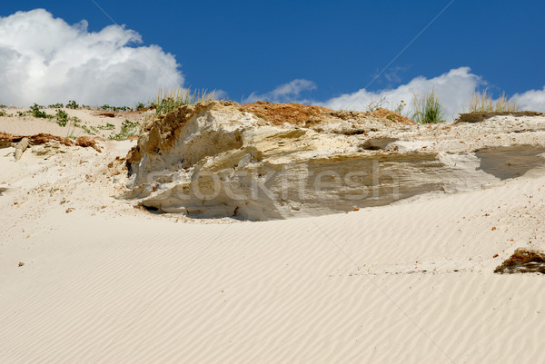 Zanderig berg wit zand blauwe hemel aarde steen Stockfoto © nemalo