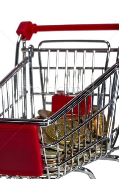 Alışveriş sepeti para yalıtılmış beyaz finanse alışveriş Stok fotoğraf © nemalo