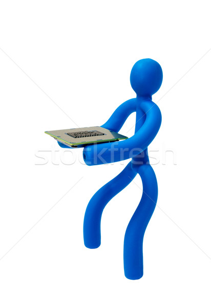 Rubber man with a processor isolated on white background Stock photo © nemalo