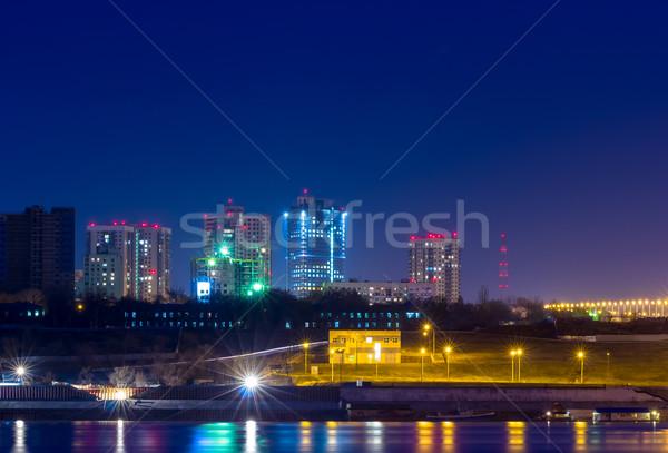 Fények éjszakai város tükröződés éjszaka város nagy Stock fotó © nemalo