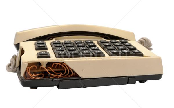 Telefon gyűjtemény telefon fehér törött klasszikus Stock fotó © nemalo