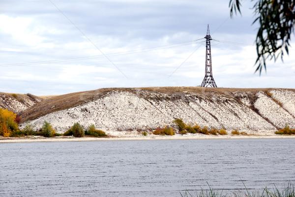 Alta tensão linha eletricidade rio montanhas Foto stock © nemalo