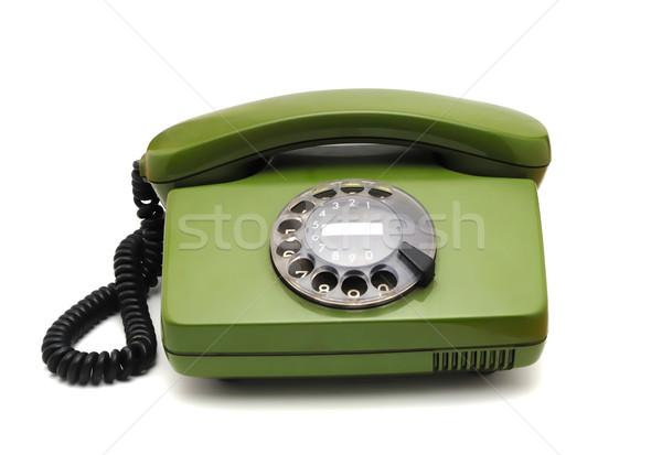 Alten Analog Festplatte Telefon weiß Telefon Stock foto © nemalo