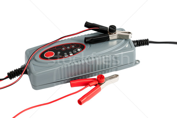Modern electronic charger for car battery with terminals and jum Stock photo © nemalo