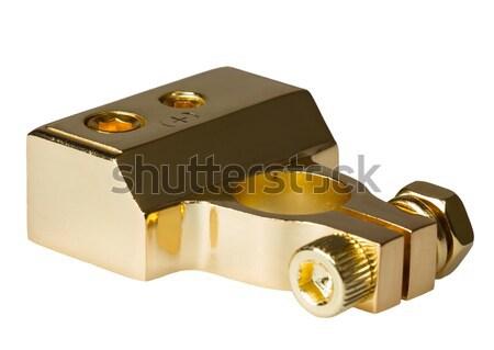 Negatywne kontakt samochodu baterii odizolowany biały Zdjęcia stock © nemalo