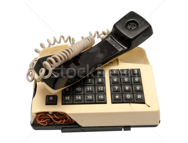 Telephone collection - crashed phone on white background Stock photo © nemalo
