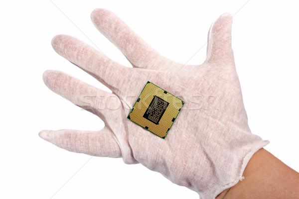 Elektronikus gyűjtemény kéz számítógép processzor processzor Stock fotó © nemalo