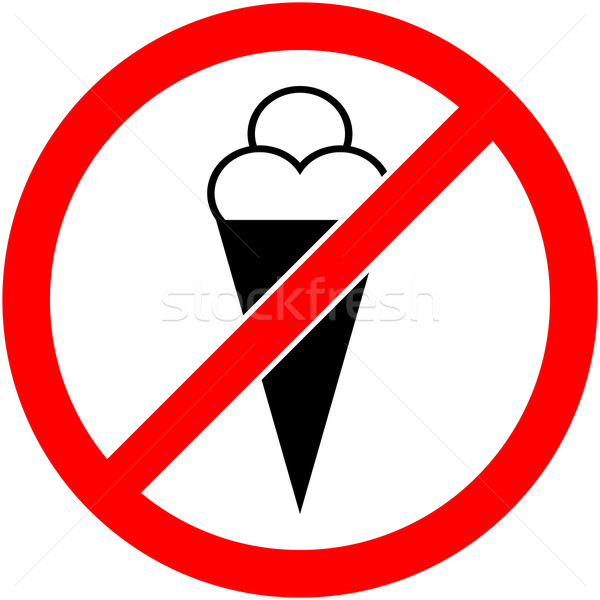 No ice cream, food, eat prohibited symbol. Vector Stock photo © nemalo
