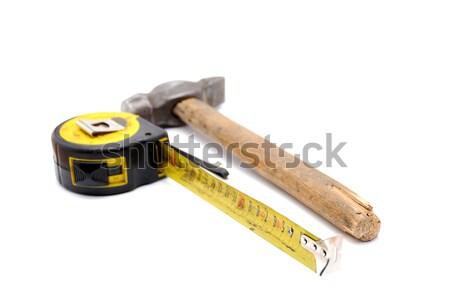 Lavoro strumento vecchio nastro di misura martello arrugginito Foto d'archivio © nemalo