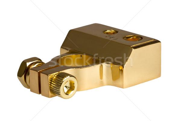 Positief contact auto batterij geïsoleerd witte Stockfoto © nemalo