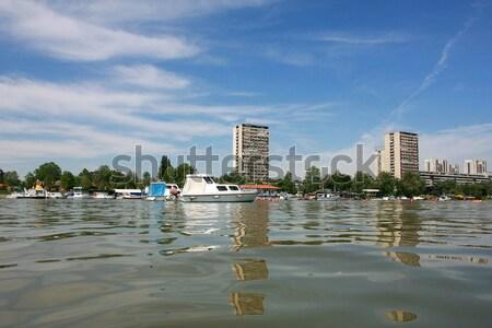 Boot rivier vuile boei hout bank Stockfoto © nemar974