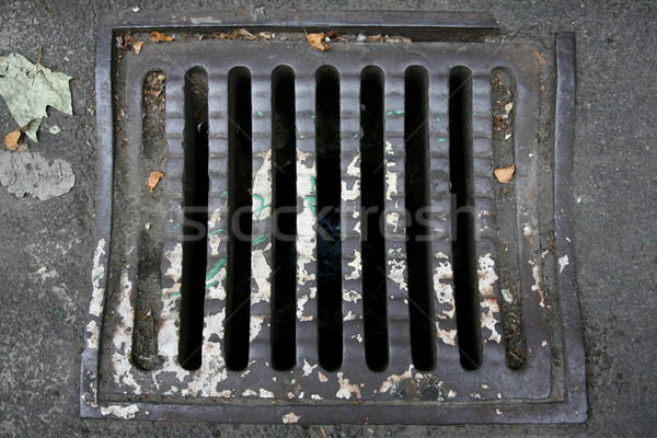 Manhole cover metal storm drain with warnings Stock photo © nemar974