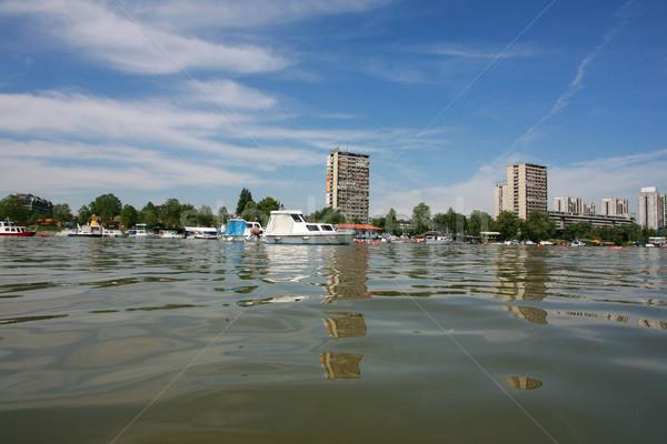 Tekne nehir kirli şamandıra ahşap banka Stok fotoğraf © nemar974