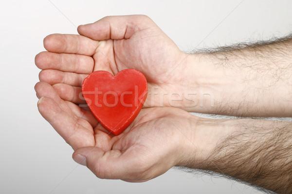 Kalp el okumak sağlık kırmızı renk Stok fotoğraf © nemar974