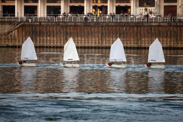 Küçük tekneler nehir su eğlence hızlandırmak Stok fotoğraf © nemar974