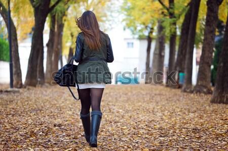 Portret piękna dziewczyna spaceru jesienią zewnątrz dziewczyna Zdjęcia stock © nenetus