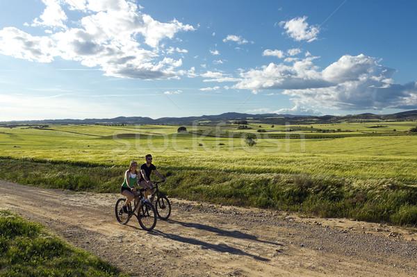 Glücklich Fahrrad Landschaft Frühling Porträt Stock foto © nenetus