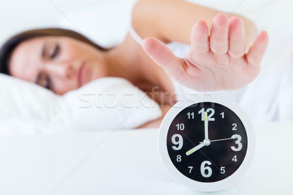 Belo mulher jovem despertador retrato noite Foto stock © nenetus