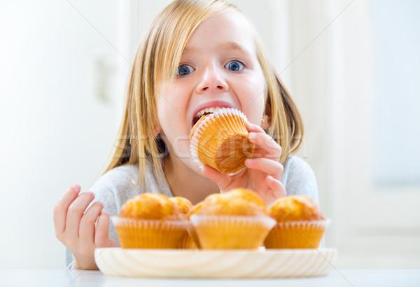 美しい 子 朝食 ホーム 肖像 手 ストックフォト © nenetus