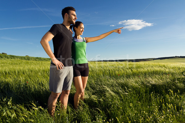 Happy young  couple  in the countryside Stock photo © nenetus