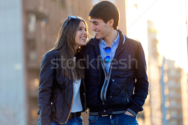 Young couple in love on the street. Stock photo © nenetus