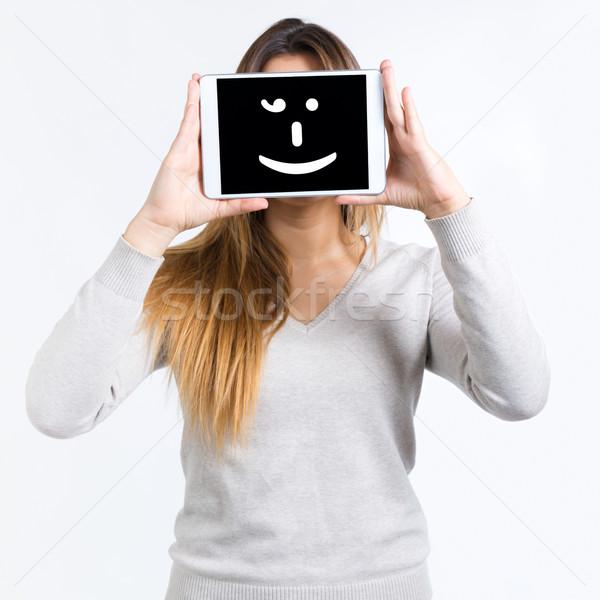 Coprire faccia digitale tablet isolato Foto d'archivio © nenetus